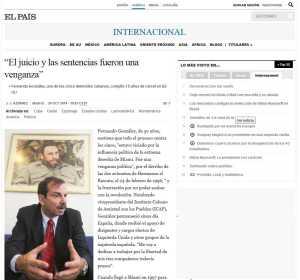 Diario EL País publica denuncia de Fernando González